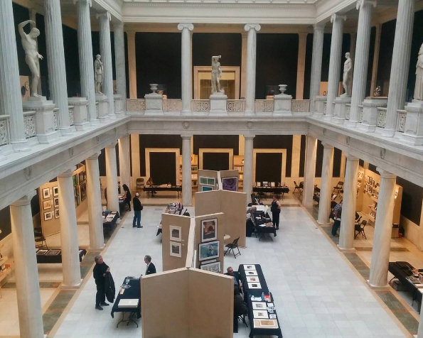 Set-up in the Hall of Sculpture at the Carnegie Museum of Art